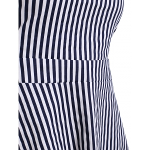 Cut Out Vertical Stripe Sleeveless Skater Dress -