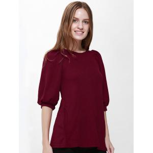 Vintage Scoop Neck Loose-Fitting Solid Color Puff Sleeve Dress For Women - WINE RED ONE SIZE