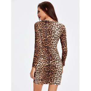 Charmante Long Sleeve Leopard Print Mini Cut Out Robe Femme - Léopard 2XL