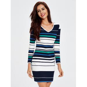 Trendy V-Neck Striped Hit Color Skinny Women's Dress -
