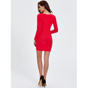 Ribbed Knit Long Sleeve Bodycon Dress - RED 2XL