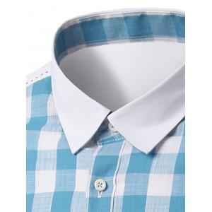 Plaid Pattern Pocket Splicing Turn-Down Collar Long Sleeve Shirt For Men - LIGHT BLUE XL
