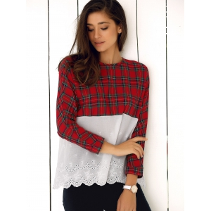 Lace Splicing Plaid Blouse -