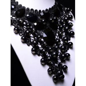 Vintage Floral Beads Necklace - BLACK