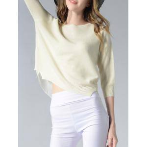 Elegant Pure Color Slit Hi Low Slim-Fitted Knit Sweater -