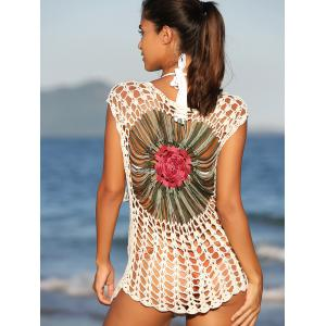 Chic Floral Cut Out Crochet Cover-Up -