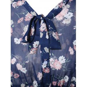 Vintage Short Sleeve Floral Print Pleated Dress - BLUE ONE SIZE