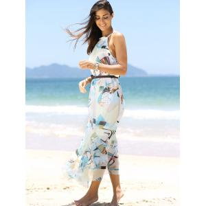 Abstract Print Long Chiffon Swing Beach Dress -