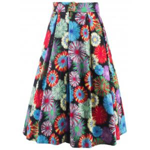 Vintage Fireworks Flower Print High Waisted Long Skirt - COLORMIX 2XL