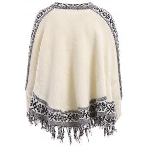 Stylish V-Neck Jacquard Tassel Spliced Long Sleeve Sweater For Women - OFF WHITE ONE SIZE(FIT SIZE XS TO M)