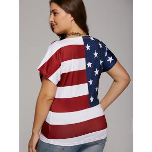 Plus Size Scoop Neck American Flag T-Shirt -