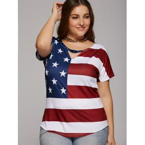 Oversized Cut Out American Flag Print T-Shirt -