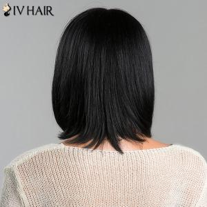 Medium Stunning Straight Side Bang Women's Siv  Human Hair Wig - JET BLACK