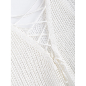 Sweet Asymmetric Crochet Lace Up See-Through Knitted Tank Top -