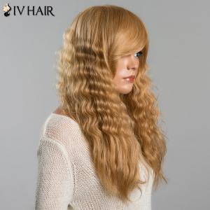 Long Stunning Fluffy Wavy Side Bang Women's Siv Human Hair Wig -