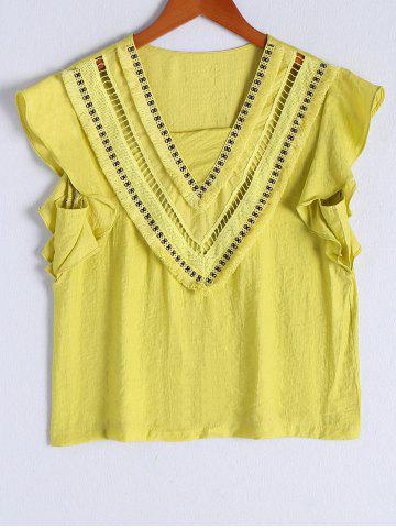 Cheap Ethnic Style Openwork Flounce Sleeves Top For Women