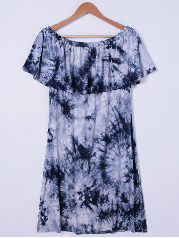 Affordable Tie Dye Off The Shoulder Casual Dress WHITE AND BLACK L