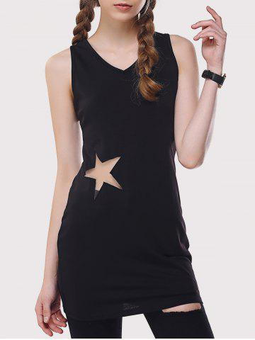 Outfits Star Mesh Inset Long Tank Top BLACK L