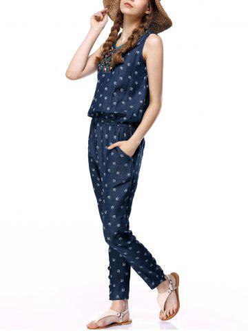 Fashion Women's Sleeveless Beaded Denim Jumpsuit