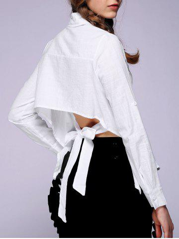 Online Women's Backless Solid Color Shirt