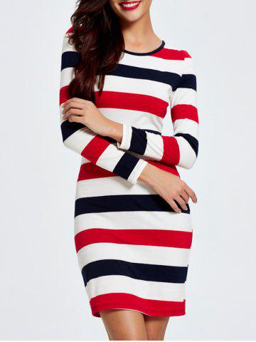 Outfit Trendy Color Block Striped Skinny Slimming Women's Dress STRIPE 2XL