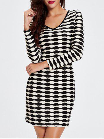 Unique V-Neck Long Sleeved Abstract Striped Slimming Dress BLACK 2XL