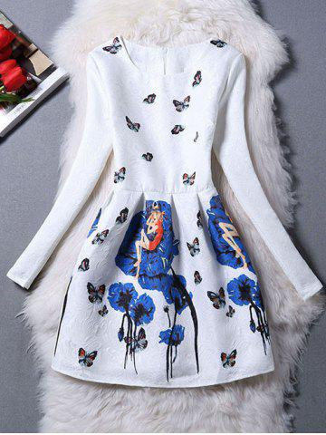 Chic Charming Butterfly Pattern Zippered Dress BLUE XL