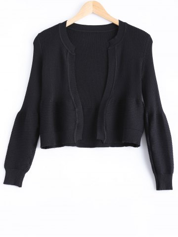 Fashion Cute Puff Sleeve Ribbed Cardigan For Women