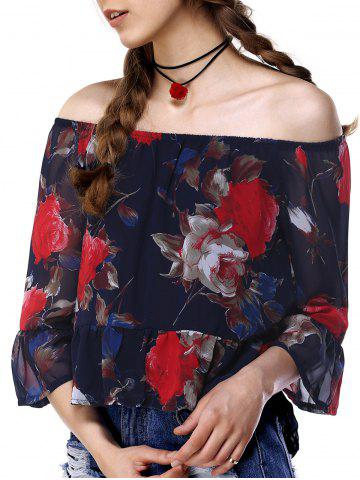 Shops Chic Off The Shoulder Bell Sleeve Floral Print Women's Blouse