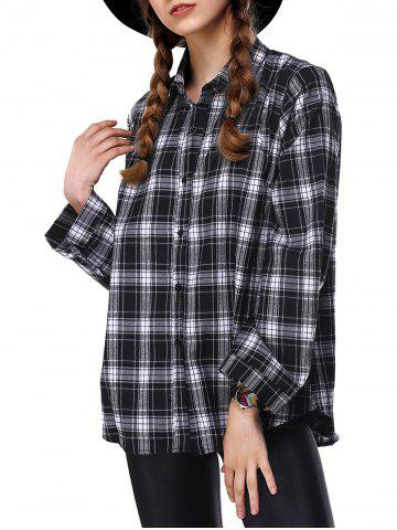 Cheap Loose Long Sleeve Plaid Shirt