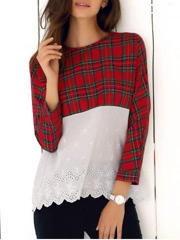 Sale Lace Splicing Plaid Blouse