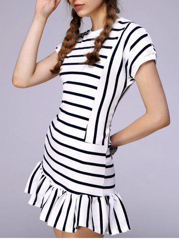 Outfit Short Sleeve Striped Mermaid Dress