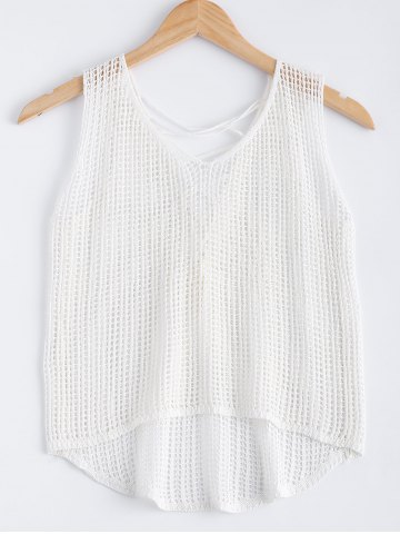 Discount Sweet Asymmetric Crochet Lace Up See-Through Knitted Tank Top