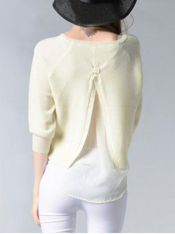 Outfits Elegant Pure Color Slit Hi Low Slim-Fitted Knit Sweater