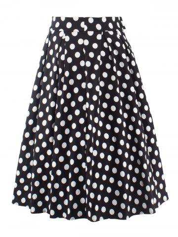 Best Vintage Polka Dot Print High Waisted Long Skirt BLACK 2XL