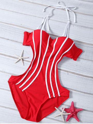 Store Strappy Cut Out Stripe Monokini Swimsuit RED XL