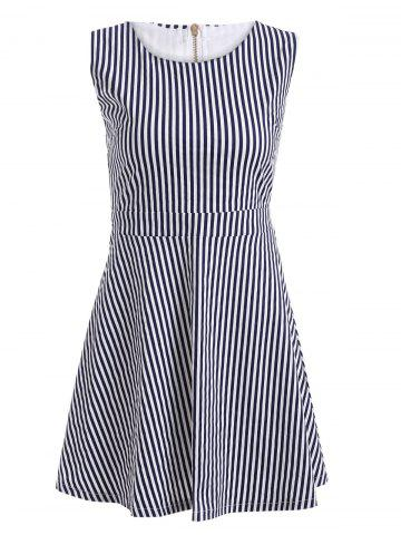 Outfit Cut Out Vertical Stripe Sleeveless Skater Dress