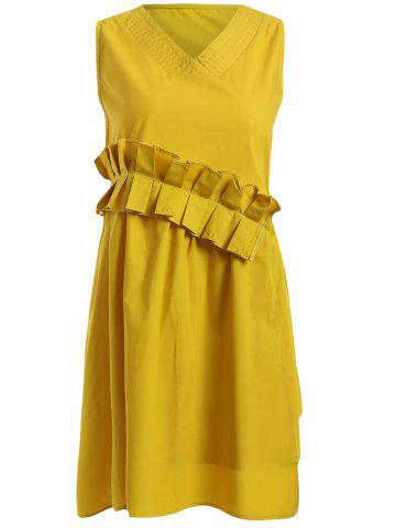 Hot Sleeveless Frilly Ruched Asymmetric Dress
