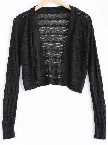 Latest Simple Textured Hollow Out Knitted Cardigan For Women