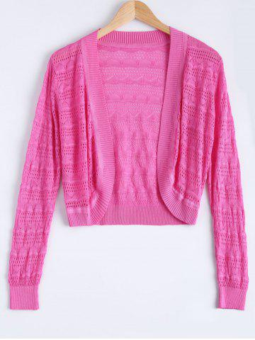 Fancy Simple Textured Hollow Out Knitted Cardigan For Women