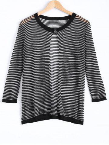 Latest Gauzy Striped Textured Knitted Cardigan For Women