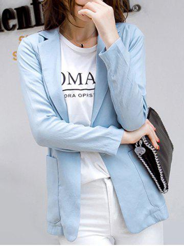 Casual Pure Color Pocket Blazer For Women - Light Blue - S