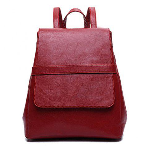 Outfits Simple Style Solid Color and PU Leather Design Backpack For Women - WINE RED  Mobile