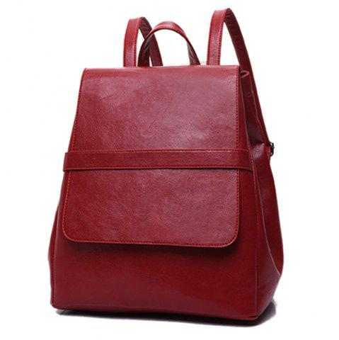 Hot Simple Style Solid Color and PU Leather Design Backpack For Women - WINE RED  Mobile