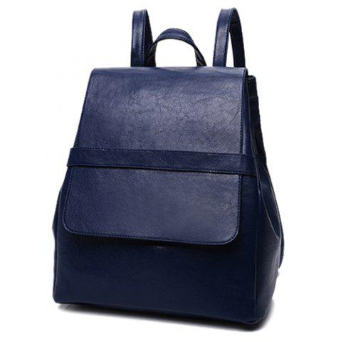 Best Simple Style Solid Color and PU Leather Design Backpack For Women - DEEP BLUE  Mobile