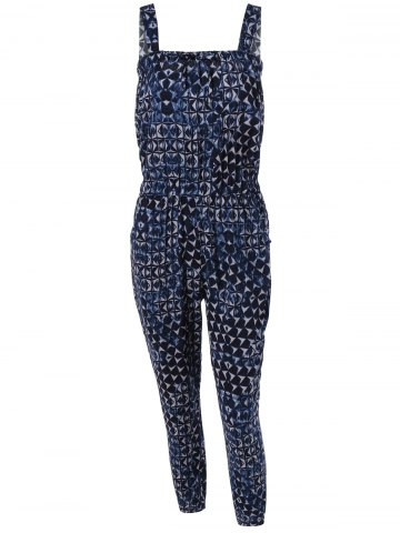 Online Stylish Women's Pocket Abstract Print Tie Jumpsuit