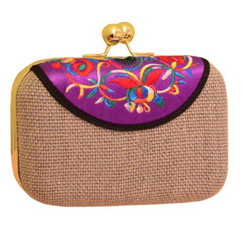 Trendy Ethnic Embroidery and Chain Design Evening Bag For Women