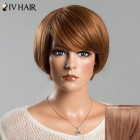 Short Straight Side Bang Women's Spiffy Siv Human Hair Wig - BROWN/BLONDE