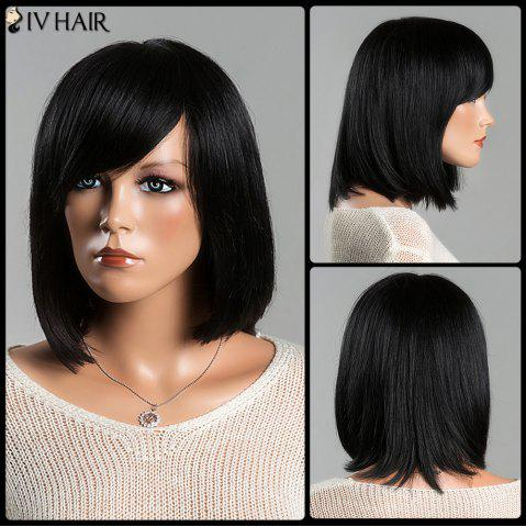 Trendy Medium Stunning Straight Side Bang Women's Siv  Human Hair Wig JET BLACK