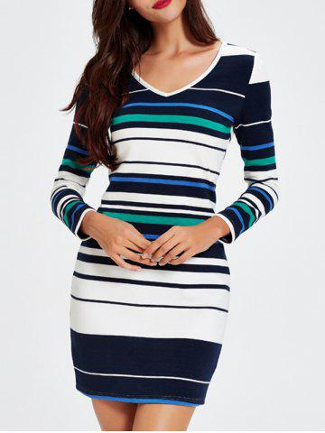 Store Trendy V-Neck Striped Hit Color Skinny Women's Dress STRIPE M